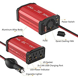 Foval Power Inverter 300W DC 12V to 110V AC Converter with 4.8A Dual USB Car Charger(Red)