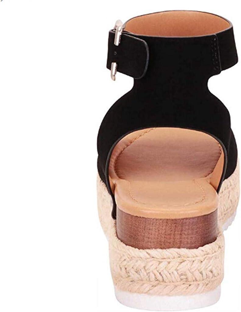 Sandales Femme Compens/éEs Espadrilles Ete Chic Cuir Plateforme Bout Ouvert 5 Cm Talon Mode Pas Cher Chaussure Plates Plage Confort Boucle Noir Marron Blanc Kaki 35-43