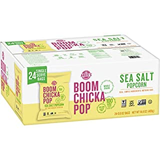Angie's BOOMCHICKAPOP Gluten Free Sea Salt Popcorn, 0.6 Ounce Vegan Snack Pack Bags (Pack of 24)