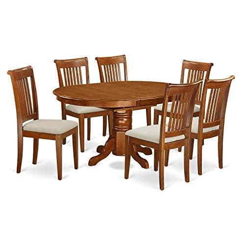 East West Furniture AVPO7-SBR-C 7-Piece Dining Table Set