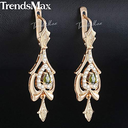 Olivine Shaped Green Stone Earrings & Rose Gold Earrings & Fashion Jewelry Valentines Gifts for Women