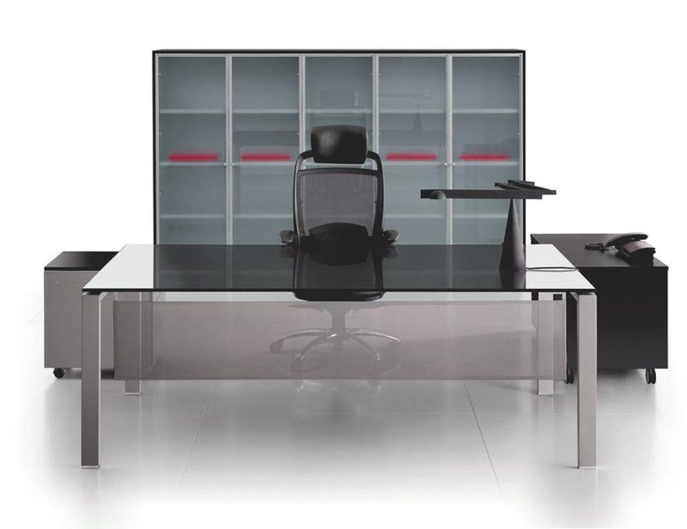 Glasschreibtisch Glider, Bürotisch, Schreibtisch, Chefbüro, hochwertige Bürommöbel
