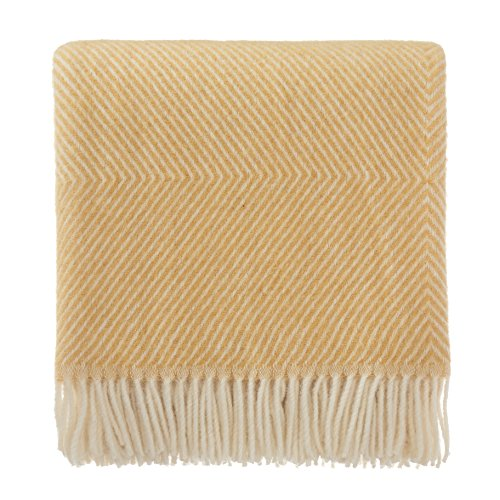 URBANARA 100% Pure Scandinavian Wool Throw Gotland 55x87 Mustard Yellow with Fringe  Virgin Wool Blanket with Decorative Diamond Weave Design  Perfect for Your Couch, Sofa, Bedroom, Twin Size Bed