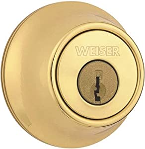 WEISER Lock GDC9471 3 WS RLR2 Single Cylinder Deadbolt, Bright Brass
