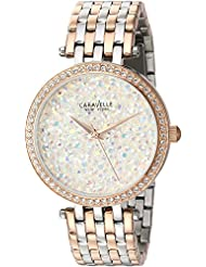 Caravelle New York Womens 45L166 Swarovski Crystal  Two Tone Watch