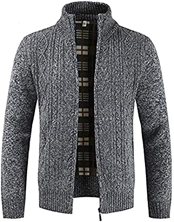 JJK Mens Knitted Cardigan, Thick Sweater Full Zip Wool Stand Collar Cardigans Coat Fleece Lined Long Sleeve Cardigan,Gray,XXXL