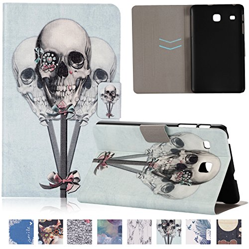 Galaxy Tab E 8.0 inch Case,UUcovers(TM) Ulra Slim Creative Cartoon Pattern Flip Magnetic Stand Protective Shell for Samsung Galaxy Tab E 8.0 T375/T377 (Skull Heads) (Model Skull Together)