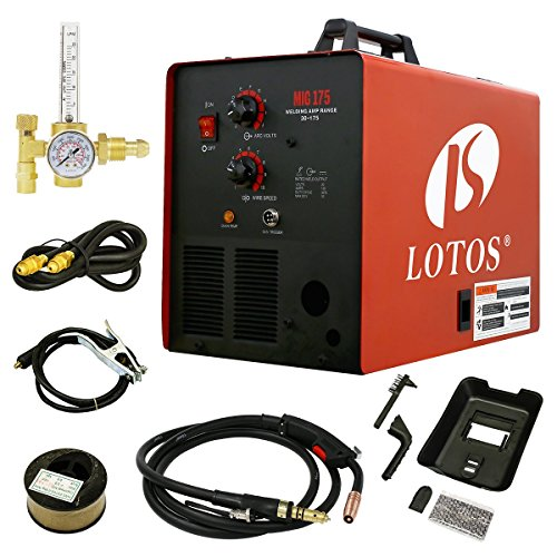 LOTOS MIG175 175AMP Mig Welder with Mask, Solid wires, Ar...