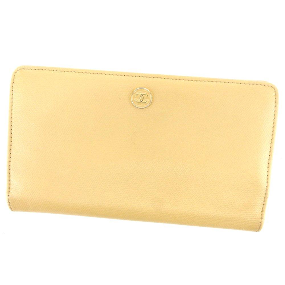 (シャネル) Chanel 長財布 財布 ファスナー付き ベージュ ゴールド オールドシャネル ココボタン レディース メンズ 可 中古 T6797   B07CJM2ZRY