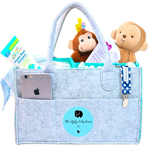 Baby Diaper Caddy Organizer | Donating to Elephant Foundation | Bonus FREE Sun Glasses Case| Baby Shower Gift Basket | Newborn Registry Must Have | Boy Girl Changing Table | Large Car Travel Organizer by Ugly Elephant Co
