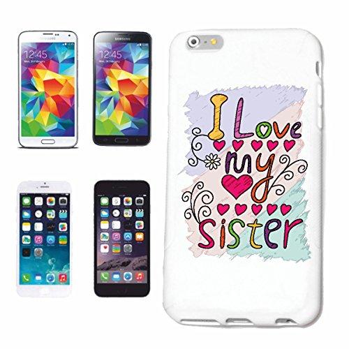 """cas de téléphone iPhone 7+ Plus """"I LOVE MY SISTER I LOVE MY SISTER ANNIVERSAIRE IDÉE CADEAU DE NOËL PÂQUES"""" Hard Case Cover Téléphone Covers Smart Cover pour Apple iPhone en blanc"""