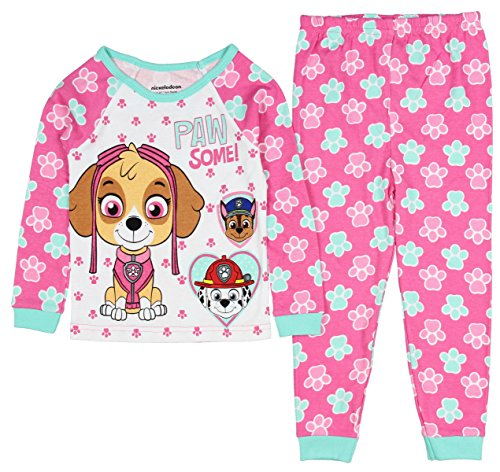 PawPatrol Little Girls Paw Some! Long Sleeve Cotton Pajama Tight Fit (5T) by AME