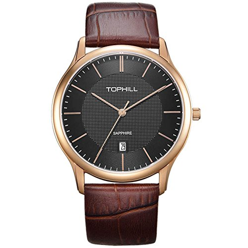 Tophill Sf210 Classic Quartz Brown Leather Men's Watch Slim Black Dial Rose Gold (Black Dial Super Slim Watch)