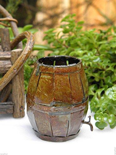 Miniature Dollhouse Fairy Garden Accessories Metal Antiqued Barrel With Spout ()