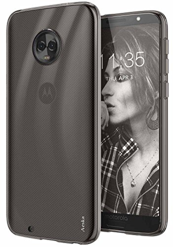 (Moto G6 Case, Aeska Ultra [Slim Thin] Flexible TPU Gel Rubber Soft Skin Silicone Protective Case Cover for Motorola Moto G6 (Smoke)