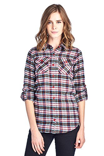 Blue Age Womens Casual Long Sleeve Plaid Flannel Shirts(CT0023_70_S)