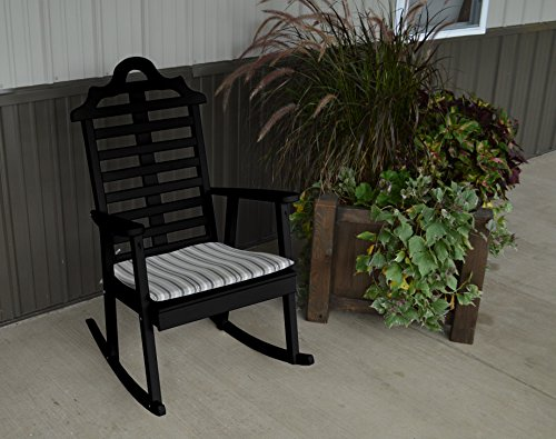 Marlboro Rocker Otdoor Rocking Chair - Classic Design for Your Home, Porch or Deck (Black)