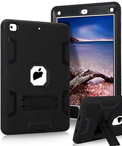 New iPad 9.7 Inch 2017 Case,KAKA[Heavy Duty]Three Layer Ultra Hybrid Shock Absorption Case High Impact Resistant Full-Body Protective Case With Kickstand for New iPad 9.7 Inch 2017 Model,Black