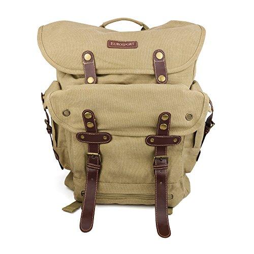 World War 2 Style Canvas Back Pack With Padded Shoulder Strap - KHAKI (World War 2 Backpack)