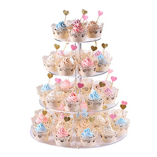 Cupcake stand, 4-Tier Round Acrylic Cupcake Display Stand Dessert Tower Pastry Stand for Wedding Birthday Theme Party- 15.7 Inches (Transparent) -