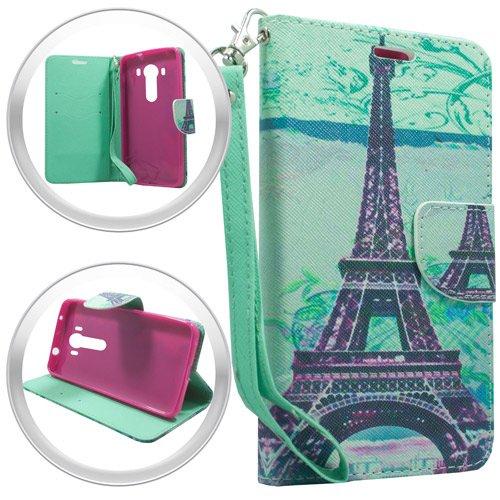 Lg V10 Case, (AT&T, T-Mobil, Verizon), Paris Tower Designer PU Leather Flip Wallet Credit Card Cover Case, Stylus Pen & Wiper Accessory (Wallet Paris Tower) - Mobil Tower