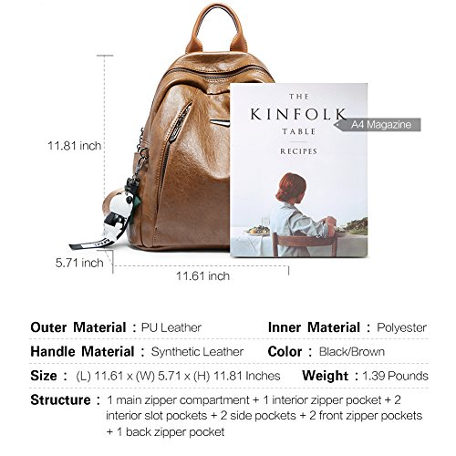 Backpack Purse for Women PU Leather Large Waterproof Travel Bag Fashion Ladies School Shoulder Bag brown by Cluci (Image #2)
