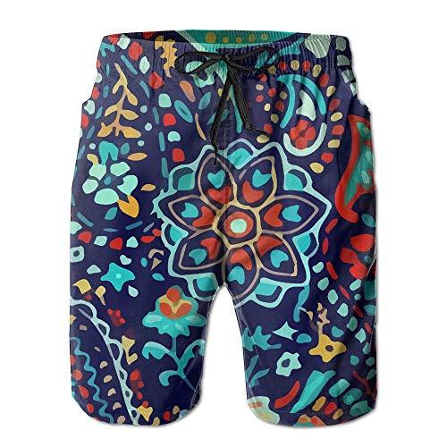 夢歌こんにちはカラフル フローラル パターン 紳士のファッションと快適のビーチショーツ スイムショーツ メッシュインナー 通気 速乾 ビーチズボン 海水パンツ ショートパンツ