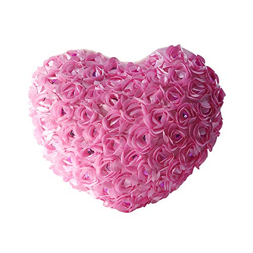 Wedding Rose Flower Heart Satin - PlayDo 3D Rose Flowers Accent Pillows Heart Shaped Garden Decorative Throw Pillow Couch Cushion Case Romantic Love Satin Rose Wedding Party Home Decor Home Sofa Bed Car