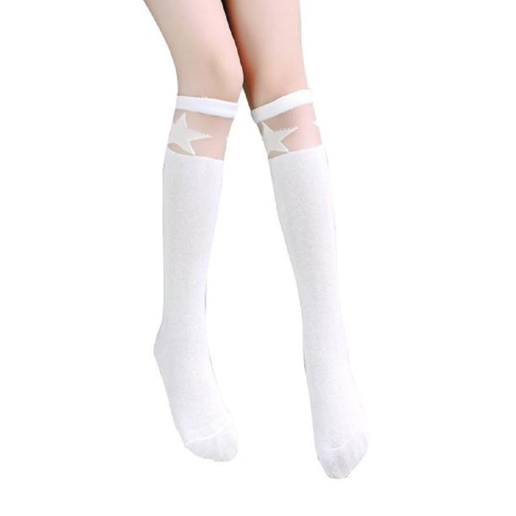 Gilroy Kids Girls Star Pattern Soft Knee High Socks Cotton Stocking