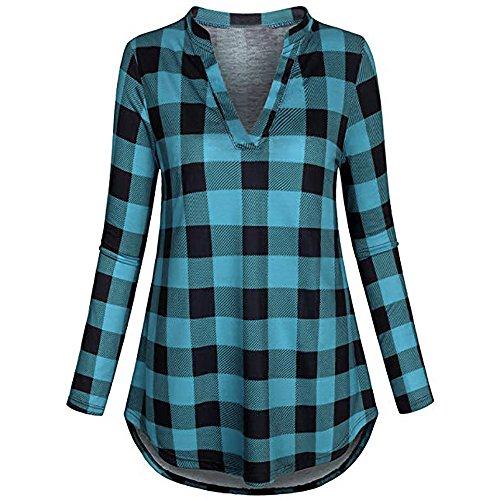 T-Shirt for Women THENLIAN Women's Split V Neck Long Sleve Casual Roll-up Plaid Tunic Blouses Tops (Blue, XL)