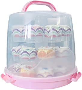MineDecor 24 Cupcake Carrier Cake Carrier Holder Portable 3 Tier Cupcake Transporter Box Muffin Container with Locking Lid and Handle for Pie Cookies (Pink)