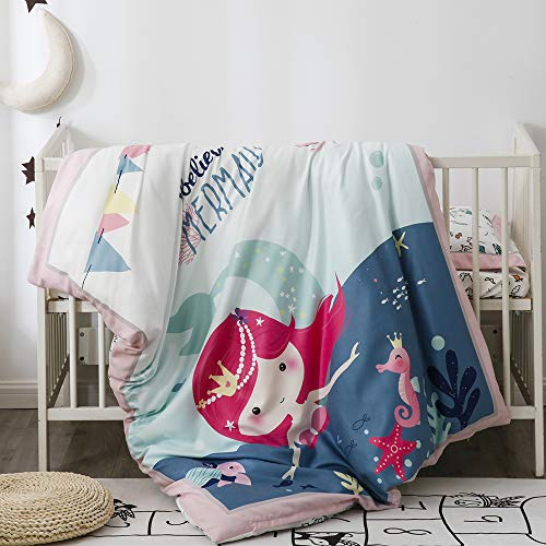 Pomco Mini Crib Bedding Set, 5PCS Mermaid Crib Baby Bedding Set-Includes Crib Comforter and Pillow Insert, Crib Duvet Cover, Fitted Sheet and Pillowcase, Animal Crib Bedding Set for Baby Boy Girl from PomCo