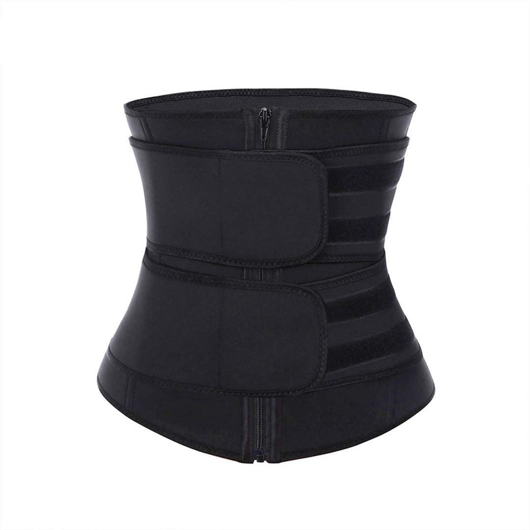Woman 7 Steel Boned Double Belt Waist Trainer Firm Tummy Control Shapewear Breathable Adjustable Slimming Cincher