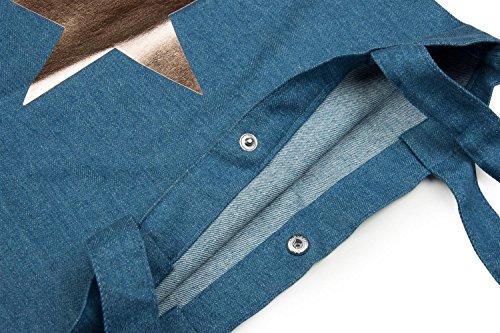 Rose Et Bleu Sac Argent Course Or Imprimé Avec Unisexe Métallique Denim De En Sac bleu Étoile Bouton Couleur 02012191 Stylebreaker Pression Toile Jeans qS0Bw4R