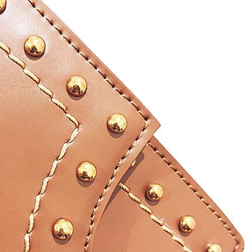 Decor Ragazza Borse Tote Borse epoca donne Republe Cosmetici singolo Marrone cellulare per PU Bags Rivet spalla delle wqfddIS