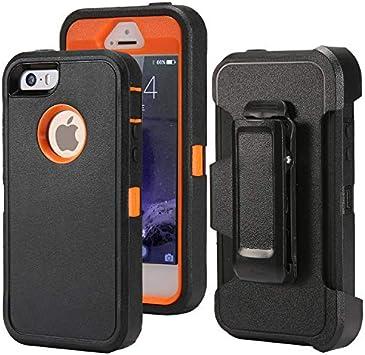 Defender Coque pour iPhone 5 5S / iPhone SE, [Protection d'écran d'impact][Robuste] [Protection contre les chutes] Coque rigide hybride en TPU robuste ...