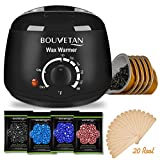 Wax Warmer - Bouvetan Waxing Hair Removal Kit with 4 Hard Wax Beans(14.1oz) and 20 Wax Applicator Sticks (at-Home Waxing)