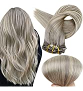 Full Shine Hair Clip in Ombre Grey Hair Extensions Full Head 18 Inch Color 19A Ash Blonde Fading ...