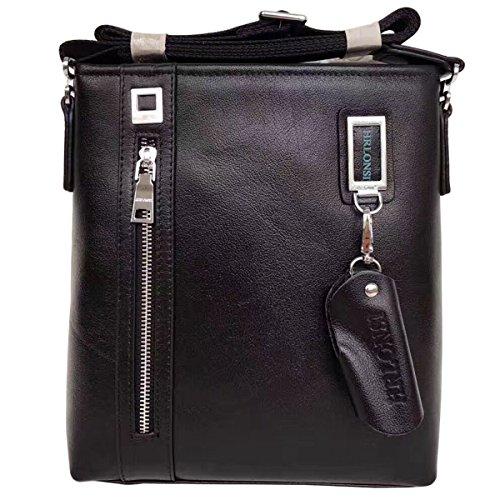 HRLONSI 2017 the most popular Men's Head Layer Head Buffalo Leather Zipper Economical durable Single Shoulder Handbag (black)