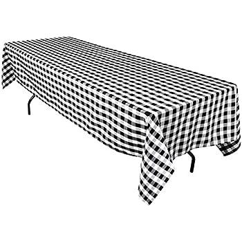 LinenTablecloth 60 X 126 Inch Rectangular Polyester Tablecloth Black U0026 White  Checker