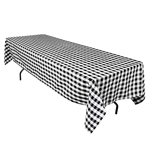 LinenTablecloth 60 x 126-Inch Rectangular Polyester Tablecloth Black & White Checker