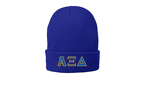 Amazon.com  Greekgear Alpha Xi Delta Big Greek Lettered Knit Cap Royal Blue  w Royal Blue Light Gold Thread Color  Clothing 8a0f70f30fa7