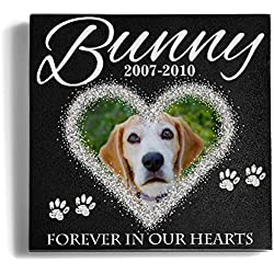 Personalized Memorial Pet Headstone Customized - Frame Forever in our hearts - 6 x 6 Granite