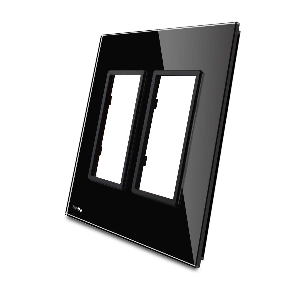LIVOLO Black US Standard, Luxury Tempered Glass Plate For Wall Socket/Outlet, C5-SR/SR-12