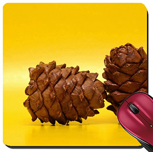 Liili Suqare Mousepad 8x8 Inch Mouse Pads/Mat Two cedar cones on yellow background IMAGE ID (Cedar Mats)