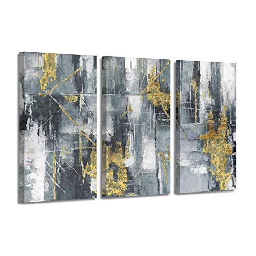 Abstract Art Picture Painting Print: Dashes & Orbs Gold Foil Artwork on Canvas for Wall - Large Original Abstract Acrylic Painting