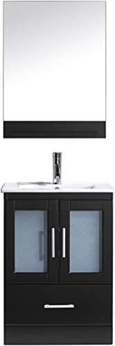 Virtu USA Single Bathroom Vanity in Espresso with White Ceramic Top and Square Sink with Brushed Nickel Faucet and Mirror, Dark Espresso, 24 inches, Integrated Square Sink Polished Chrome Faucet