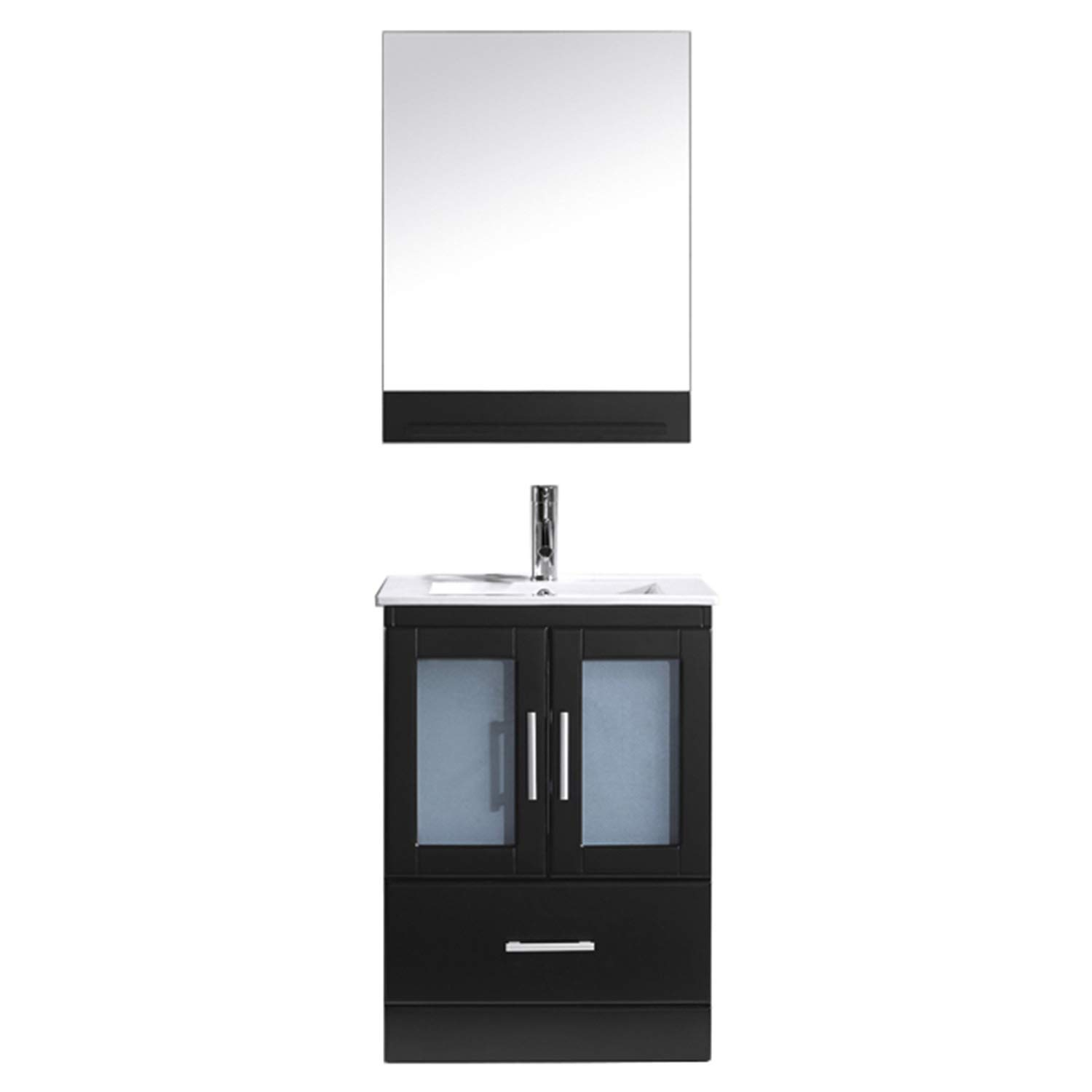 Virtu USA Single Bathroom Vanity in Espresso with White Ceramic Top and Square Sink with Brushed Nickel Faucet and Mirror