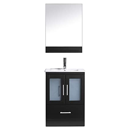 255f7b81109 Virtu USA Single Bathroom Vanity in Espresso with White Ceramic Top and  Square Sink with Brushed Nickel Faucet and Mirror - - Amazon.com