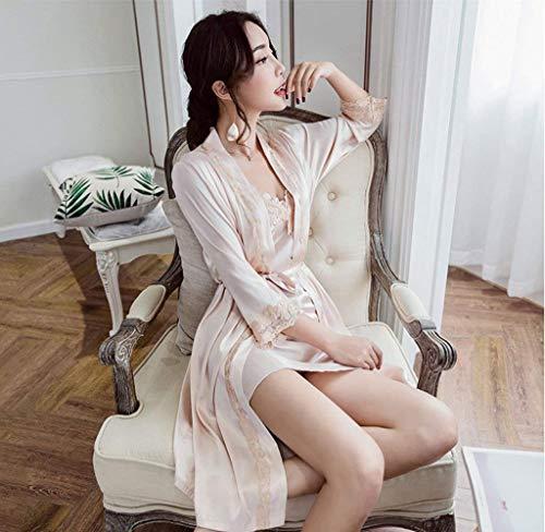 Champagner Mujer cuello Sin De Moda Otoño Sleeveless Conjunto Tirantes Camisón V Pijama Dormir Camisones Largo Vestido Espalda Encaje Splice Descubierta Cinturón Manga Con qBPqr67